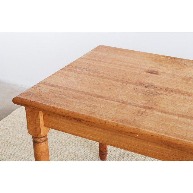 Mid 20th Century American Oak Butcher Block Style Farm Table For Sale - Image 5 of 13
