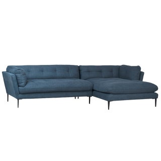Midcentury Blue Chaise Sofa For Sale