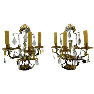 Pair of Italian Tôle Peinte Three-Light Girandole or Lamps, 19th Century For Sale