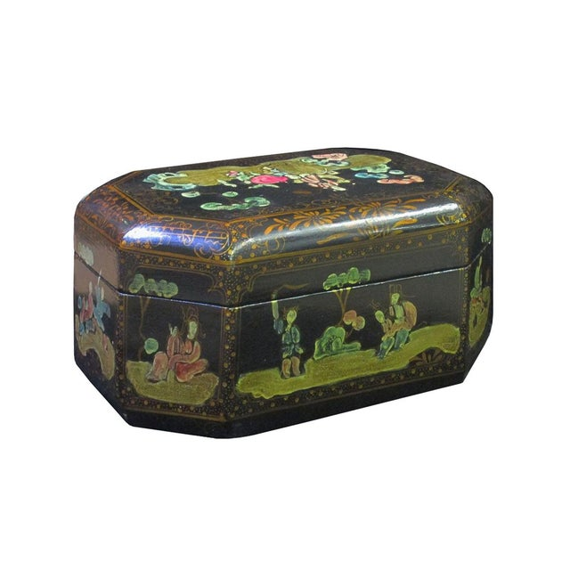 Asian Vintage Handmade Chinese Octagon Painting Scenery Decorative Lacquer Box For Sale - Image 3 of 6