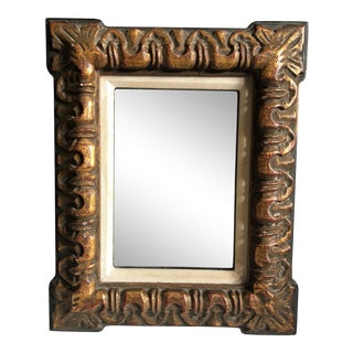 Vintage Mid-Century Carved Wood Smoked Mirror For Sale