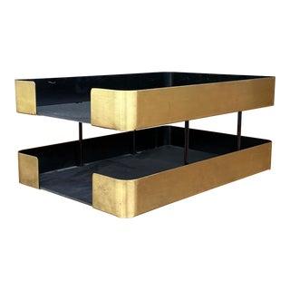 Smokador Brass Two Tier Desk Paper Tray For Sale