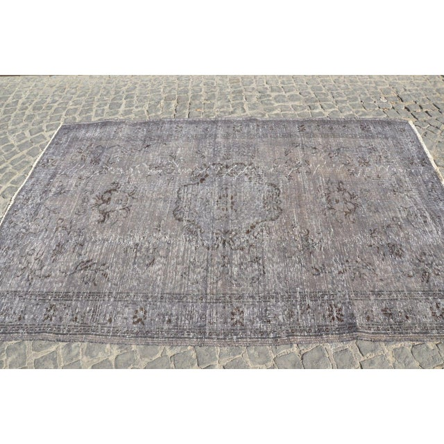 Vintage Overdyed Gray Rug - 5′1″ × 7′7″ For Sale - Image 4 of 6