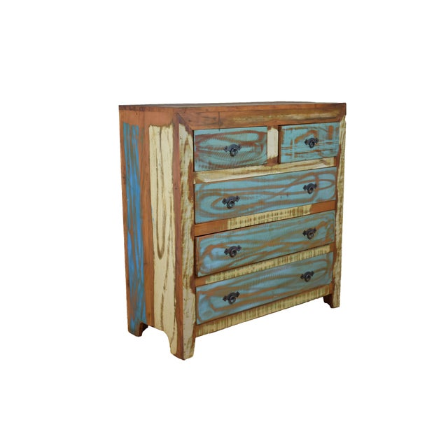 Enhance any bedroom with this lovely and very functional chest of drawers. The beautifully aged wood and colorful...