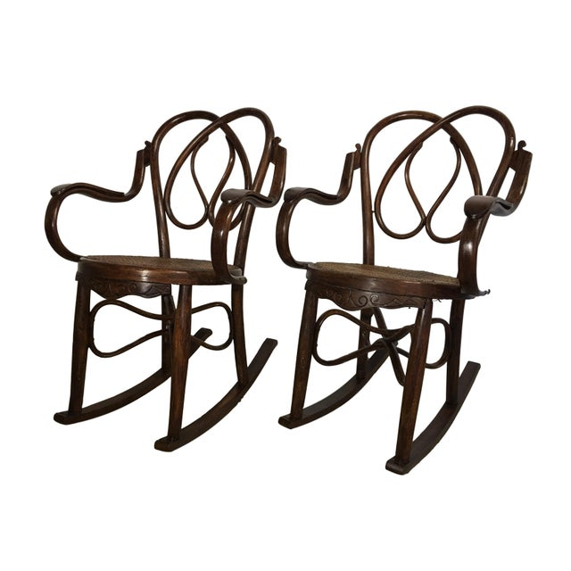 About 19th century pair of bentwood rocking chairs in the style of Jacob & Josef. Details OF THE PERIOD Colonial Revival...