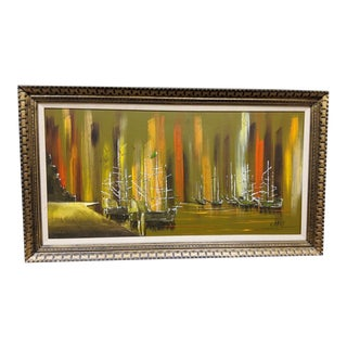 Mid-Century Modern Original Framed Expressionist Abstract Oil on Canvas Painting Signed Gerny For Sale