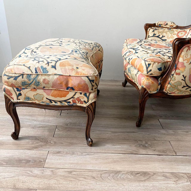 """1990s Louis XV Style Armchair and Ottoman in Brunschwig & Fils """"Dzhambul"""" Fabric For Sale - Image 5 of 8"""