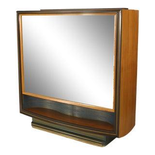 Italian Walnut & Maple Vitrine Cabinet For Sale