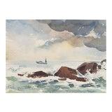Image of 'Coastal Surf' by Helen Schepens-Kraus, 1950's, Carmel Art Association, California Woman Artist For Sale