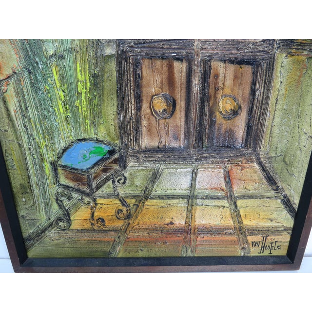 Wood Original Mid-Century Gothic Painting on Board by Van Hoople For Sale - Image 7 of 13