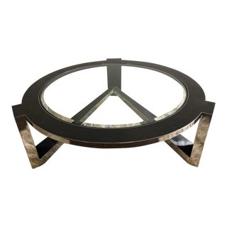 Tavola by Oggetti Glass, Chrome and Inlay Coffee Table For Sale
