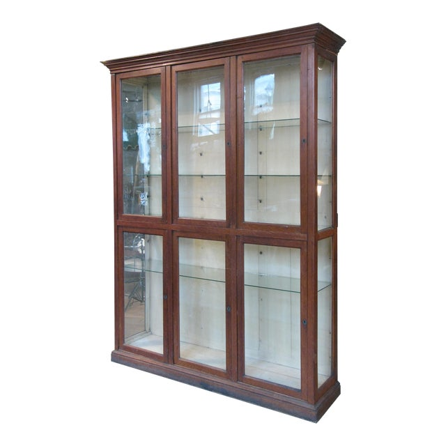 Large Antique Late 19th C. Oak and Glass Display Cabinet For Sale