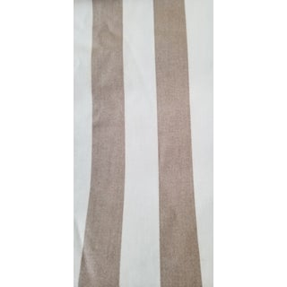 Beige and Cream Screenprinted Scotchguarded Stripe Vintage New Fabric For Sale