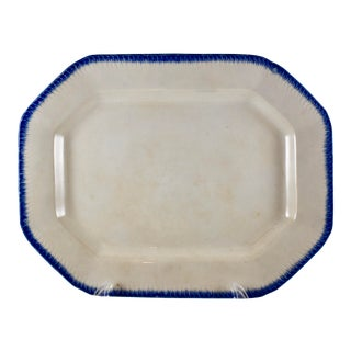 19th C. English Leeds Blue Feather or Shell Edge Pearlware Platter For Sale