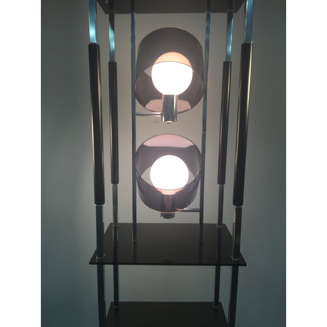 1970s 1970s Modernist Smoky Lucite and Chrome with Shelving Floor Lamp For Sale - Image 5 of 7