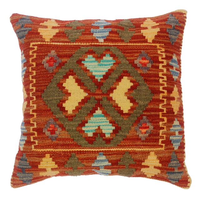 "Chi Rust/Gold Hand-Woven Kilim Throw Pillow(18""x18"") For Sale"