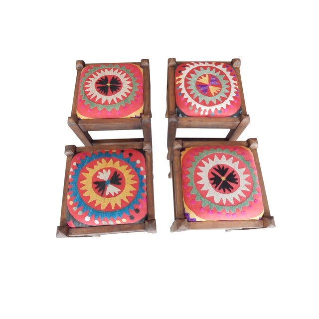 Set of 5 Suzani Covered Bench Handmade Ottoman From Anatolian With 4 Pieces Footstool For Sale - Image 9 of 13