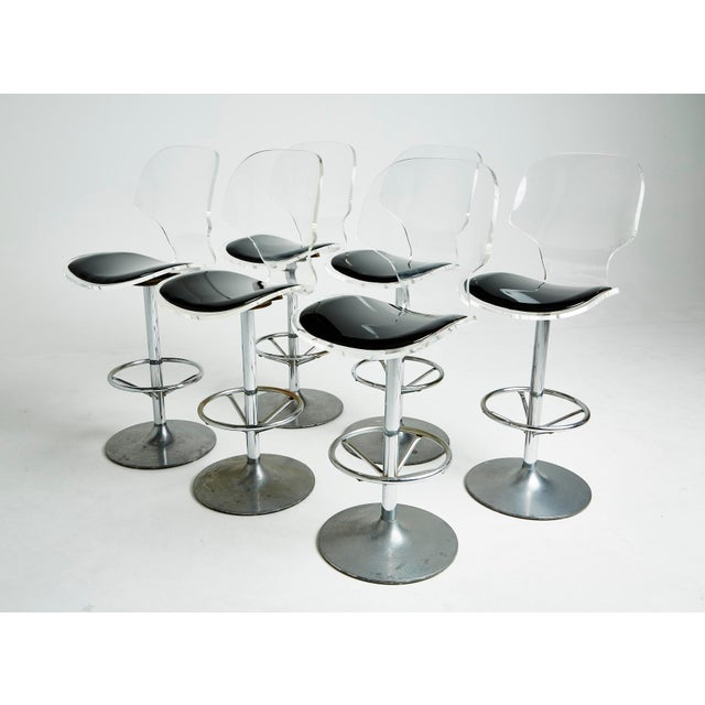 Mid-Century Modern Set of Six Lucite Bar Stools For Sale - Image 3 of 8