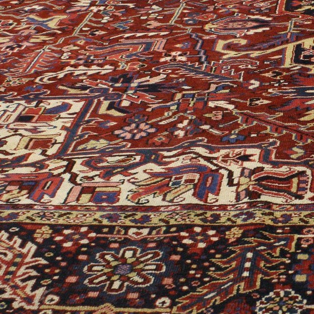 Textile Antique Persian Heriz Rug with Modern Traditional Style For Sale - Image 7 of 10