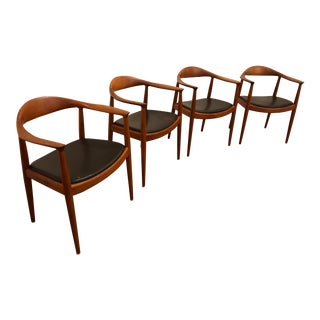 Hans Wegner Hp503 Armchairs for Johannes Hansen, Teak and Leather, Authentic, Made in Denmark, 4 Available For Sale
