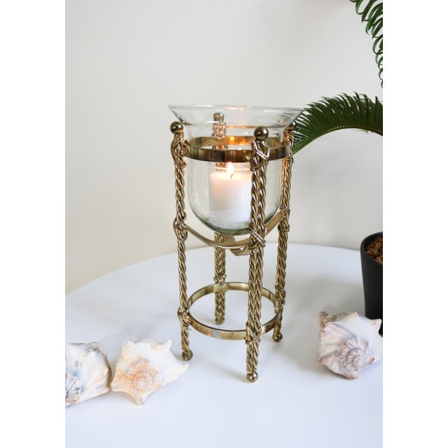 "Vintage 11"" Tall Pedestal Candleholder Stand Brass and Glass Bowl This beautiful candleholder is perfect for bedroom,..."