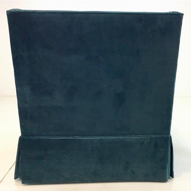 2010s Gabby Helena Blue Velvet Modern Swivel Club Chair For Sale - Image 5 of 6