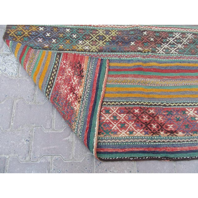 1960s 1960s Turkish Embroidered Kilim Rug For Sale - Image 5 of 6