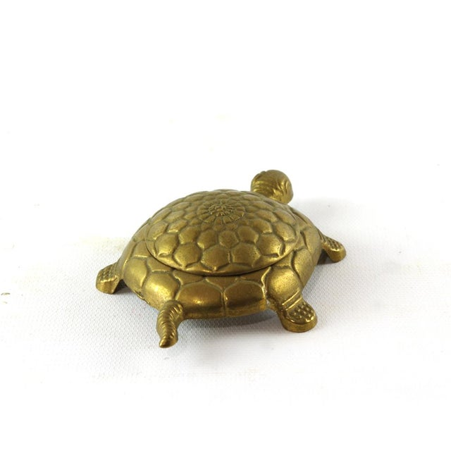 Boho Chic Vintage Brass Turtle Trinket Box For Sale - Image 3 of 6