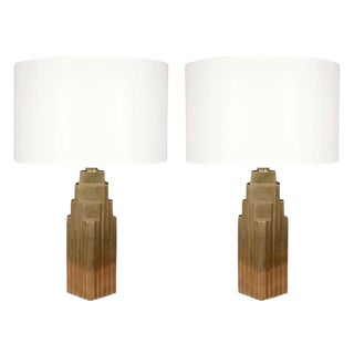 1970s Chapman Brass Skyscraper Lamps- a Pair For Sale