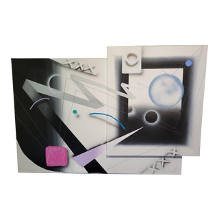 Large 80's Dual Canvas Abstract Paintingea For Sale