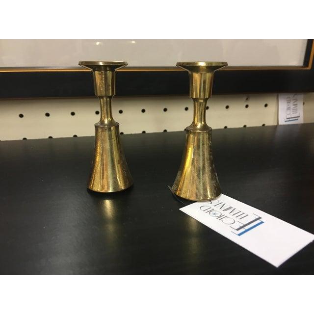 Danish Brass Thin Candlesticks - a Pair - Image 2 of 5