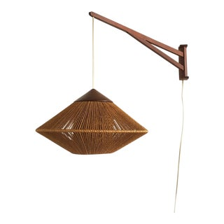 Fog & Mørup Teak & Jute Wall Mounted Pendant Lamp