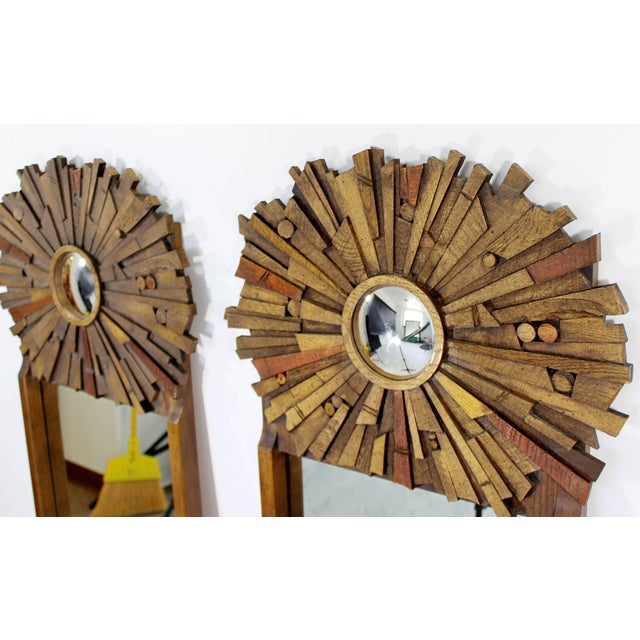 Mid-Century Modern Pair of Lane Brutalist Wood Mirrors for Mosaic Line Evans Era For Sale In Detroit - Image 6 of 11