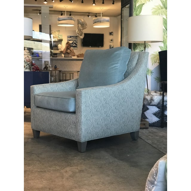 Contemporary Cox Light Aqua & Zebra Chair For Sale - Image 3 of 8