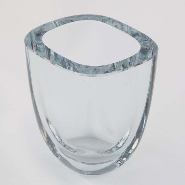 Heavy blown rectangular vase with rounded corners in Strombergshyttan's signature blue-silver glass. Produced in Sweden,...