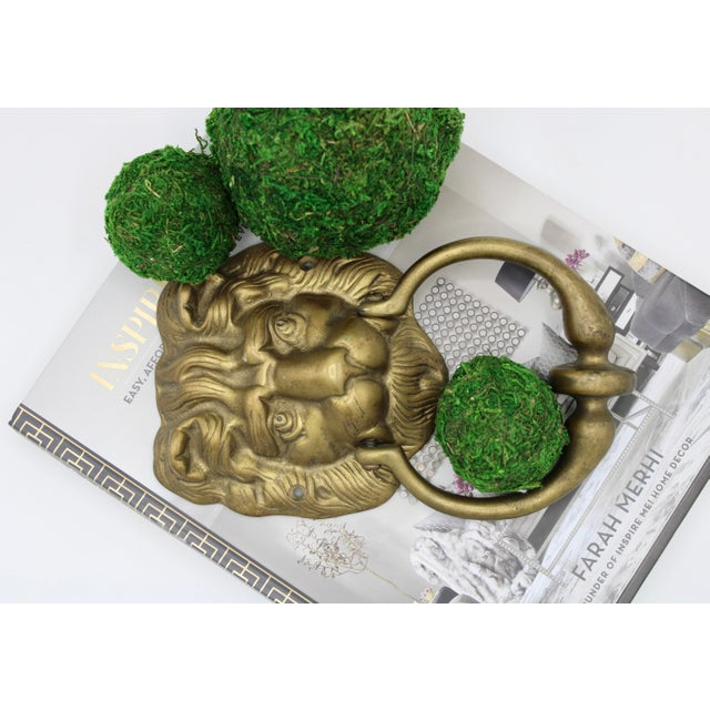 Vintage Lions Head Brass Door Knocker For Sale - Image 4 of 11