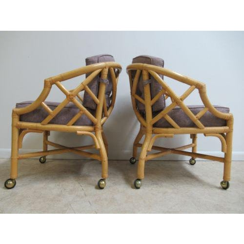 Vintage Ficks Reed Rattan Bamboo Arm Chairs -A Pair For Sale - Image 9 of 11