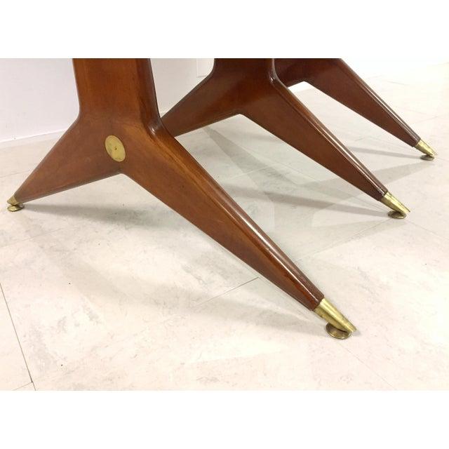 Gio Ponti Attr. Brass & Walnut Dining Table - Image 10 of 11