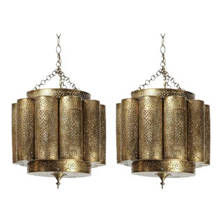 Mid 20th Century Large Pierced Brass Moroccan Chandelier in Alberto Pinto Style - a Pair For Sale
