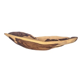 Late 20th Century Vintage Organic Free Form Carved Teak Wood Bowl For Sale