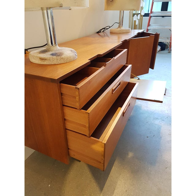 1960s Nathan Stamped English Clear Teak Sideboard, Buffet, Mid Century Modern, 1960s For Sale - Image 5 of 9