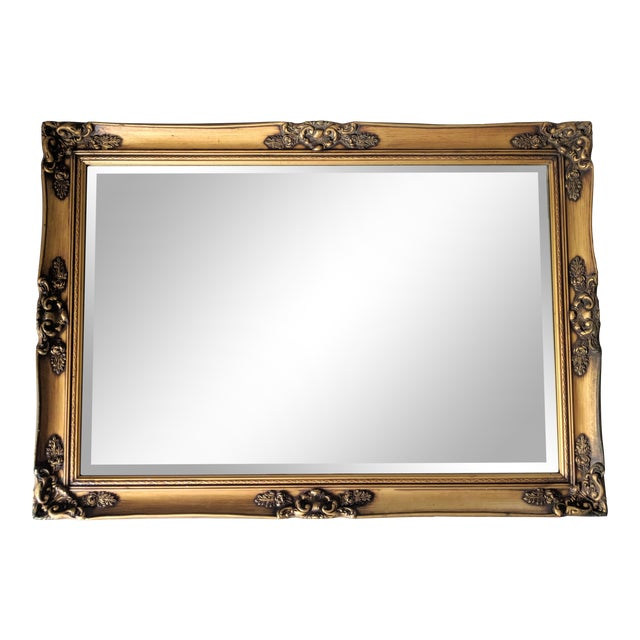 Large 20th Century Hollywood Regency Gold Wood Frame Mirror For Sale