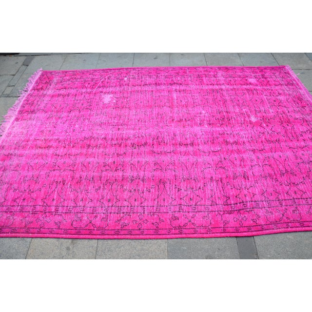 Fuscia Overdyed Floor Rug - 5′11″ × 8′11″ For Sale - Image 4 of 6