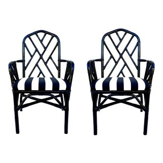 Vintage Bamboo Chippendale Arm Chairs - a Pair || Black Lacquered Chinoiserie Furniture For Sale