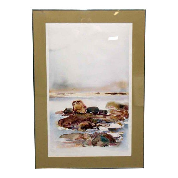 Scenic Watercolor Painting in Metal Frame | Chairish
