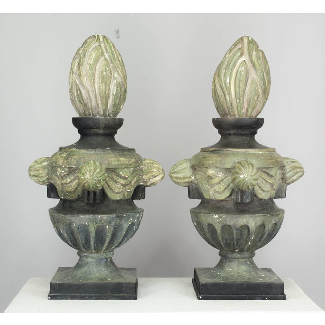 Metal Pair of French Zinc Architectural Finials For Sale - Image 7 of 11