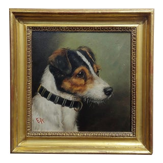 Edward Airstrop-Portrait of a Jack Russell-English Oil Painting C.1900s For Sale