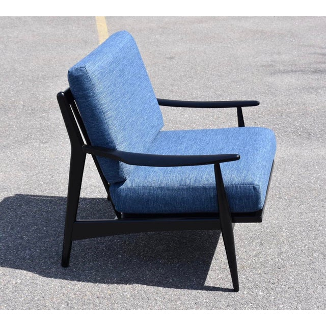 Modern Black Lacquered MCM Lounge Chair For Sale - Image 3 of 6