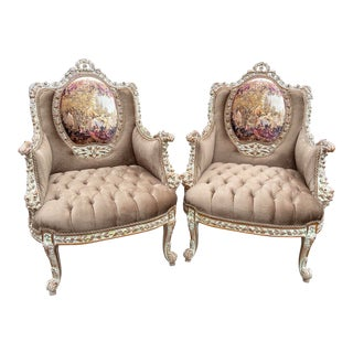 French Louis XVI Style Bergères Chairs - a Pair For Sale