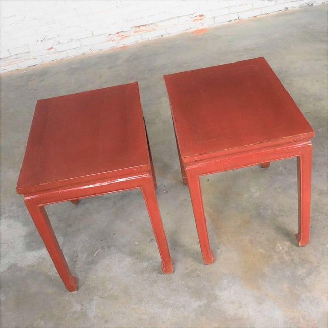 Asian Mid 20th Century Asian Ming Style Chinese Crackle Red Lacquer Rectangular End Tables - a Pair For Sale - Image 3 of 13